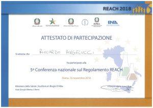 Attestato di partecipazione 5a Conferenza nazionale sul Regolamento REACH
